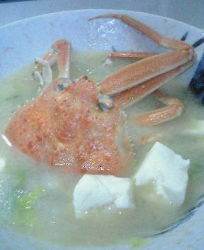 初めてつくった蟹汁